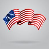 stock photo of waving  - American waving Flag - JPG