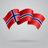 foto of waving  - Norwegian waving Flag - JPG