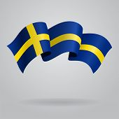 image of sweden flag  - Swedish waving Flag - JPG
