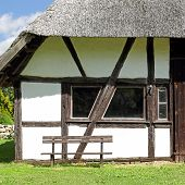 picture of barn house  - The thatched barn in the village Dambeck in Mecklenburg was built at the end of 18th century - JPG