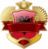 stock photo of albania  - Shield with wings and crown angel Albania - JPG