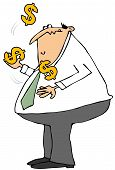 picture of juggling  - This illustration depicts a chubby businessman juggling large dollar signs - JPG