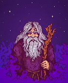picture of sorcerer  - Illustration of a old man with staff - JPG