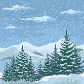 stock photo of snow clouds  - Christmas Winter Mountain Landscape with Firs Trees - JPG