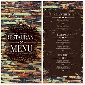 stock photo of wall-stone  - Restaurant menu design on stones background - JPG
