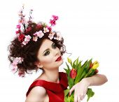 image of makeover  - Beauty Spring Girl with Flowers Hair Style - JPG