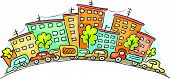 foto of row houses  - Cartoon cityscape with cars and houses - JPG