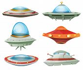 pic of alien  - Illustration of a set of cartoon funny UFO unidentified spaceship and spacecrafts from alien invaders with various futuristic shapes - JPG
