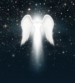 stock photo of cherubim  - Digital illustration of an angel in the night sky full of stars - JPG