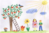 Постер, плакат: Children In A Autumn Garden Children Drawing