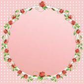 picture of climbing roses  - Vector illustration frame of climbing flowers and leafs - JPG