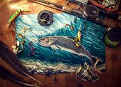 stock photo of trout fishing  - Illustration about fishing - JPG