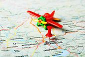 pic of dnepropetrovsk  - Close up of Dnepropetrovsk Ukraine map and airplane - JPG