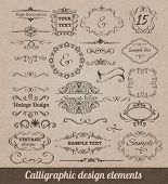 image of scroll  - Calligraphic design elements set with card decoration scrolls and vignettes isolated vector illustration - JPG