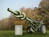 picture of artillery  - Photo illustration of an old artillery gun with the barrel tied in a knot and a blank stone waiting for your text - JPG