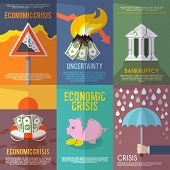 picture of crisis  - Economic crisis mini poster set financial bankruptcy flat isolated vector illustration - JPG