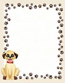 image of dog tracks  - Dog paw prints border  - JPG