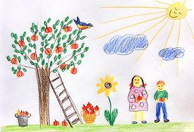 picture of garden-art  - children picking apples in the garden  - JPG