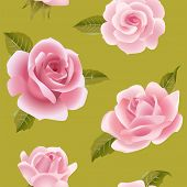 stock photo of climbing roses  - Vintage vector pink roses on green seamless pattern - JPG