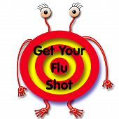 stock photo of flu shot  - flu germ with angry eyes red target on white - JPG