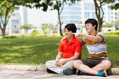 picture of korean  - Korean boys having fun in the park - JPG