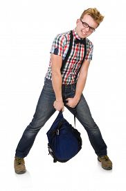 pic of heavy bag  - Student with heavy bag isolated on white - JPG