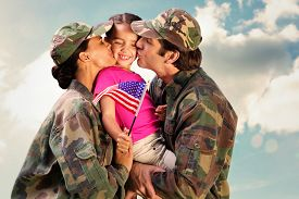 image of cloudy  - Soliders reunited with children against cloudy sky - JPG