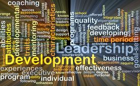 stock photo of leadership  - Background concept wordcloud illustration of leadership development glowing light - JPG