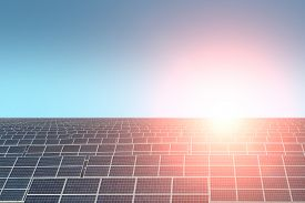 picture of solar battery  - Solar battery with highlight on clear blue sky background copyspace horizontal picture - JPG