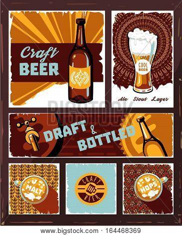 Vintage Craft Beer Banner Set Vector Retro Draught Ale Poster Pub Restaurant Or