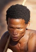 NAMIBIA- MAY 6: Portrait of bushman hunter May 6, 2007 in Namibia, Kalahari Desert. Bushmen are an i