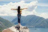 Joyful Woman Travel Mountains poster