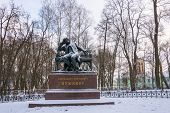 Постер, плакат: The Monument To Alexander Pushkin In The Lyceum Garden At Tsarskoye Selo Russia