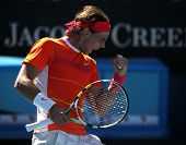 MELBOURNE, AUSTRALIA - JANUARY 26: Rafael Nadal in his quarter final loss to Andy Murray during the