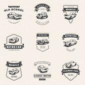 Set Of Classic Car Logo, Emblems, Badges. Service Car Repair, Car Restoration And Car Club Design El poster