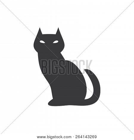 poster of Black Evil Cat Vector Icon On White Background. Black Evil Cat Icon In Modern Design Style. Black Ev