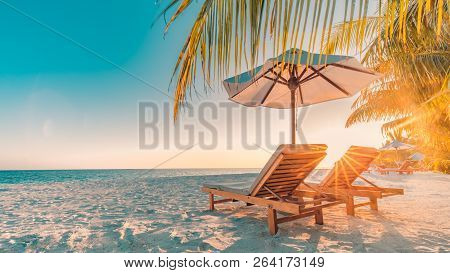 poster of Tranquil Scenery, Relaxing Beach, Tropical Landscape Design. Summer Vacation Travel Holiday Design.