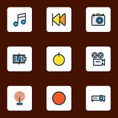 Music Icons Colored Line Set With Previous, Projector, Start And Other Camera Elements. Isolated  Il poster