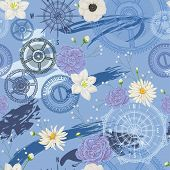 Seamless Pattern With Vintage Compass, Wind Rose, Gears, Brush Strokes And Flowers. Travel, Adventur poster