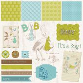 Scrapbook Vintage design elements - Baby Boy Announcement