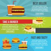 Fastfood Tasty Banner Horizontal Concept Set. Flat Illustration Of 3 Fastfood Tasty Banner Horizonta poster