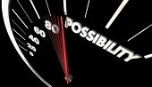 Possibility Potential Opportunity Speedometer Word 3d Illustration poster