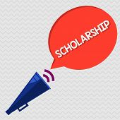 Conceptual Hand Writing Showing Scholarship. Business Photo Showcasing Grant Or Payment Made To Supp poster