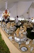 image of wedding feast  - Wedding reception dinner banquet party table settings - JPG