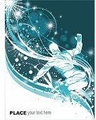 snowboarder in action,floral ornaments,vector illustration