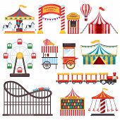 Amusement Park Isolated Icons. Vector Flat Illustration Of Circus Tent, Carousel, Ferris Wheel. Carn poster