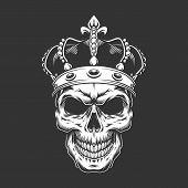 Vintage King Skull Wearing Crown In Monochrome Style Isolated Vector Illustration poster