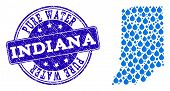 Map Of Indiana State Vector Mosaic And Pure Water Grunge Stamp. Map Of Indiana State Formed With Blu poster