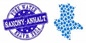 Map Of Saxony-anhalt State Vector Mosaic And Pure Water Grunge Stamp. Map Of Saxony-anhalt State For poster