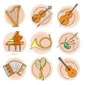 Modern Linear Pictogram Of Musical Instruments. Set Of Concept Line Icons Musical Instruments. Music poster
